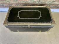 Early 19th Century Green Leather & Brass Bound Traveling Trunk (4 of 5)