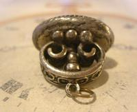 Vintage Pocket Watch Chain Fob 1950 Large Silver Nickel Victorian Revival Fob (6 of 6)