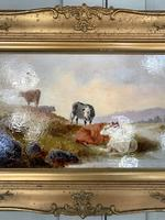 Antique Victorian river landscape oil painting study of cows 1 of 2 (4 of 10)