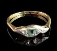 Art Deco Emerald Ring, 18ct Gold & Platinum (5 of 10)
