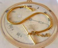 Vintage Pocket Watch Chain 1970s 12ct Gold Plated Snake Link Albert & T Bar (3 of 9)