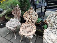 Set of Four Cast-iron Garden Chairs c.1900 (5 of 6)