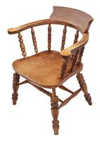 Elm and Beech Bow Armchair Elbow Desk Chair Victorian C1890 (3 of 8)