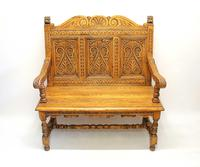 Good Quality  Reproduction  Carved Oak Settle or Hall Seat (13 of 17)