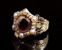Antique Mourning Ring, 18ct Gold, Enamel, Pearl & Garnet - William IV (9 of 13)