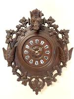 Outstanding Quality Carved Oak Black Forest Wall Clock