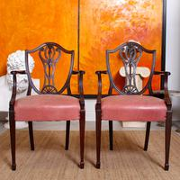 6 Dining Chairs Hepplewhite Mahogany Leather 19th Century (12 of 15)