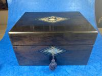 Victorian Ebonised Jewellery Box with Mother of Pearl & Abalone Inlay (17 of 18)
