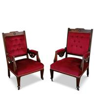 Two Arts & Crafts Fireside Chairs on Castors (13 of 13)