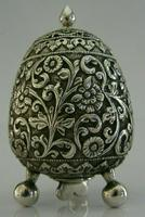 Stunning Indian Eastern Solid Silver Pepper Spice Pot Egg Shaped c.1880