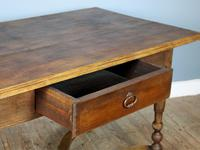 19th Century Single-Drawer Serpentine Stretcher Dining Table (3 of 8)