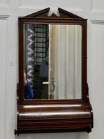Victorian Mahogany Bathroom Wall Mirror with Towel Rail and Swan Neck Pediment (3 of 5)