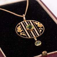 Antique Edwardian Peridot and Pearl Pendant and Gold Chain c.1901 (2 of 6)
