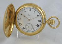 1907 18K Gold Waltham Full Hunter Pocket Watch