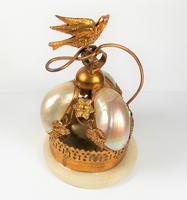 Rare 19th Century Palais Royal Gilt Dove Bird & Mother of Pearl Bell (7 of 12)