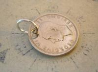 Vintage Pocket Watch Chain Fob 1948 Lucky Silver Sixpence Old 6d Coin Fob (4 of 8)