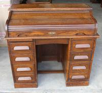 1920's Large Oak D type Roll Top Desk with Good Interior (4 of 6)