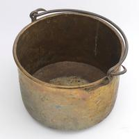Large Age Patinated Brass Log Bin with Iron Swing Handle C1875 (7 of 9)