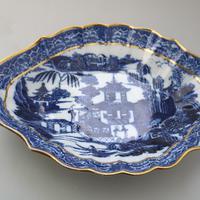 Large Blue & White Long Bridge Bowl Pottery, Unusually Decorated Underneath 19thc (2 of 6)