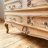 French Antique Style Chest of Drawers / Louis XV Style Raw Oak Chest (5 of 9)