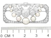 3.51ct Diamond & Pearl, Platinum Brooch - Art Deco c.1930 (7 of 9)