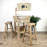 Rustic Wooden Butcher's Block with Marble Top (2 of 10)