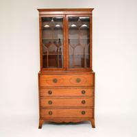 Antique Inlaid Mahogany Secretaire Bureau Bookcase (5 of 11)