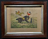 Set of Six 19thc Oak framed Humorous Coloured Sporting Hunting Engraving's (13 of 14)
