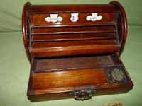 Compact Figured Oak Roll Top Stationery Box. c1900
