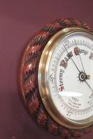 Large Antique Polished Oak Ship's Barometer (6 of 6)