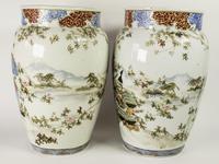 Large Mirror Pair of Japanese Samurai Kutani Vases (7 of 7)