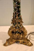 19th Century Green Glass Gilt Ormolu Table Lamp (2 of 5)