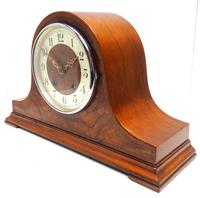 Walnut Hat-Shaped English  8-Day Mantel Clock with Silver & Walnut Dial (4 of 8)