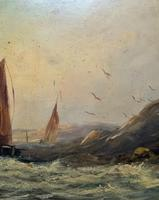 19thc (British School) Fishing Boats In Rough Seas Oil On Board Painting (5 of 13)
