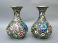 Pretty Pair of Chinese Cloisonne Champleve Vases (3 of 9)