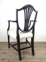 Antique 19th Century Open Arm Carver Armchair with Fabric Seat (M-1196) (6 of 11)