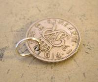 Vintage Pocket Watch Chain Fob 1950 Lucky Silver Sixpence Old 6d Coin Fob (5 of 8)