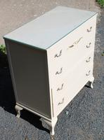 1960s White Chest of 4 Drawers with Glass Top (3 of 4)