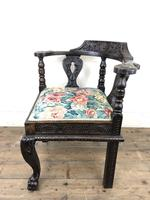 Victorian Carved Oak Corner Chair with Floral Upholstery (7 of 9)