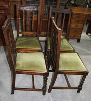 1940s Set 4 Oak Barley Twist Dining Chairs with Green Seats (3 of 3)