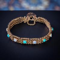 Antique Edwardian Opal Turquoise Gate Bracelet 9ct Gold Walker & Hall c.1901 (2 of 7)