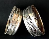 2  Silver Plated  Reticulated  Bottle Coasters (3 of 3)