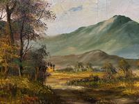Large Early 20th Century Antique English Autumn Countryside Landscape Oil Painting (6 of 11)