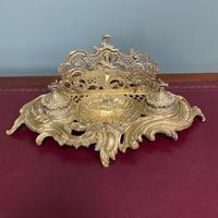Superb Quality Antique Brass Inkwell Letter Holder Desk Set (5 of 5)