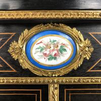 Victorian Ebonised Inlaid Side Cabinet with Brass Mounts (13 of 15)