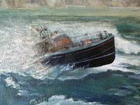 """Fine """"Lifeboat in Stormy Sea"""" oil on canvas- signed """"Cheyne """" (2 of 5)"""