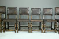 6 Cromwellian Style Brown Leather Dining Chairs (3 of 12)