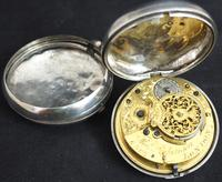Good Antique Silver Pair Case Pocket Watch Fusee Verge Escapement Key Wind Enamel Dial Robinson London (4 of 11)