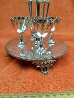 Antique Silver Plate 4 Piece Egg Cruet Set C1880's Cooper Brothers 656 (2 of 12)