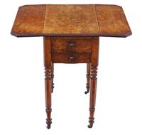 Victorian 19th Century Burr Walnut Drop Leaf Work Table c.1880 (5 of 8)